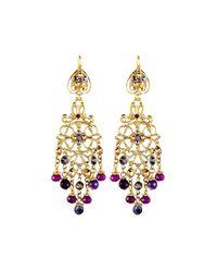 Jose & Maria Barrera | Purple Multihued Filigree Chandelier Earrings | Lyst