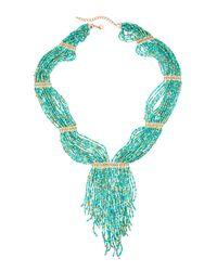 Panacea - Blue Multi-strand Seed Bead Statement Fringe Necklace - Lyst