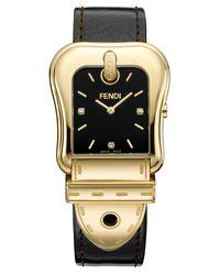 Fendi - Black B. Diamond Buckle Watch With Leather Strap - Lyst