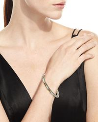 Konstantino Metallic Silver & 18k Gold Mother-of-pearl Bangle With Spinel