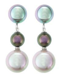 Majorica - Green Triple Pearl-Drop Earrings - Lyst