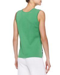 Misook Green Knit Scoop-neck Tank Top