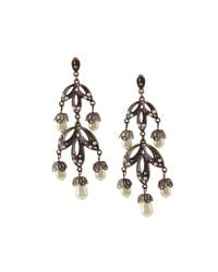Lydell NYC | Gray Hematite Crystal & Simulated Pearl Chandelier Earrings | Lyst
