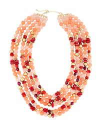 Lydell NYC Multi-strand Necklace W/ Pearls Pink