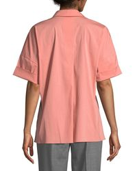 Lafayette 148 New York Pink Mitra Half-sleeve Blouse