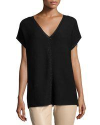 Lafayette 148 New York Black Short-sleeve Sequin-trim V-neck Sweater
