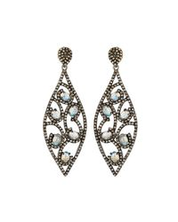 Bavna - Metallic Diamond & Moonstone Marquise Drop Earrings - Lyst