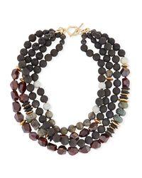 Akola - Black Four-strand Beaded Necklace - Lyst