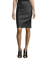 Neiman Marcus Black Lamb Leather & Ponte Pencil Skirt