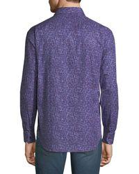 Bugatchi - Purple Men's Shaped-fit Zigzag Jacquard Sport Shirt for Men - Lyst