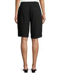 Neiman Marcus Black Linen Bermuda Cuffed Shorts