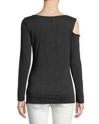 Love Scarlett - Black Long-sleeve Asymmetric Gathered Blouse - Lyst