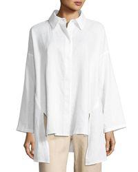 Go> By Go Silk White Petite Linen Oversized Shirt