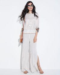 BB Dakota White Rebekah Striped Split-leg Pants