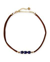 Nakamol - Blue Braided Leather & Lapis Choker - Lyst