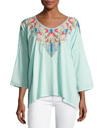 Johnny Was - Blue Rosa Embroidered-yoke Blouse - Lyst