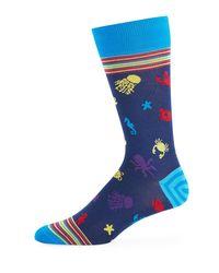 Bugatchi - Blue Men's Sea Creatures Cotton-blend Socks for Men - Lyst