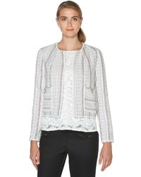 Laundry by Shelli Segal - Gray Stripe Tweed Jacket - Lyst