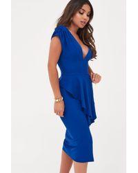 Lavish Alice Blue Deep Plunge Peplum Midi Dress