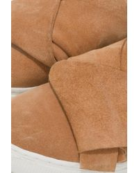 Lavish Alice - Natural Suede Backless Trainers In Camel - Lyst