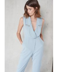 Lavish Alice - Powder Blue Metal Lapel Trim Blazer Style Jumpsuit - Lyst