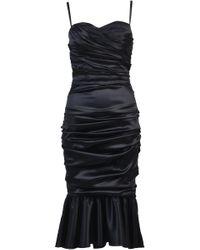 Dolce & Gabbana Black Ruched Bustier Dress