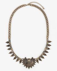 Le Chateau - Metallic Gem & Metal Collarbone Necklace - Lyst
