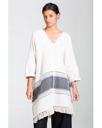 lemlem | White Yohannes Blanket Poncho | Lyst