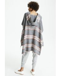 Lemlem - Gray Makari Hooded Poncho - Lyst