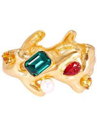 Oscar de la Renta - Metallic Coral Crystal Cuff Bracelet - Lyst