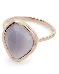 Monica Vinader Metallic Rose Gold-plated Siren Nugget Grey Agate Stacking Ring