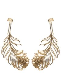 Alex Monroe | Metallic Peacock Feather Earrings | Lyst