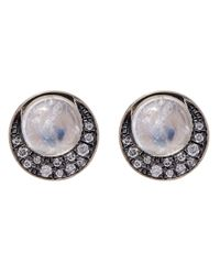 Noor Fares | Gray Eclipse Diamond And Moonstone Stud Earrings | Lyst