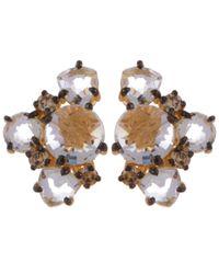 Suzanne Kalan - Metallic Gold Cluster Diamond Earrings - Lyst