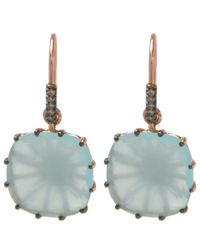 Suzanne Kalan - Multicolor Rose Gold Chalcedony Cushion Drop Earrings - Lyst