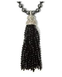 Oscar de la Renta - Long Black Tassel And Pearl Pendant Necklace - Lyst