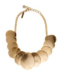 Oscar de la Renta | Metallic Gold-tone Disc Necklace | Lyst
