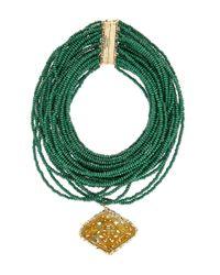 Rosantica | Green Vesuvio Multilayer Wood Necklace | Lyst