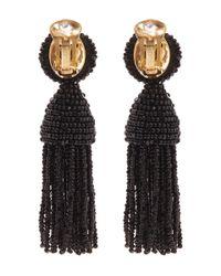 Oscar de la Renta Black Short Beaded Tassel Clip-on Earrings