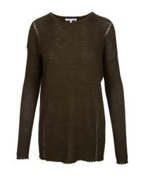 Helmut Lang - Green Olive Merino Ribbed Frayed Hem Top - Lyst