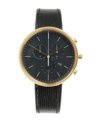 Uniform Wares Metallic M40 Pvd Satin Gold Case With Florentine Textured Leather Strap Watch for men