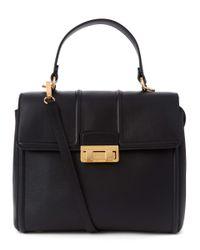 Lanvin Black Jiji Small Top Handle Leather Tote Bag