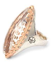 Laurent Gandini - Multicolor Rose Gold Rimmed Rock Crystal Cocktail Ring - Lyst