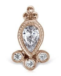 Maria Tash   Multicolor Rose Gold Diamond Delia Threaded Stud   Lyst