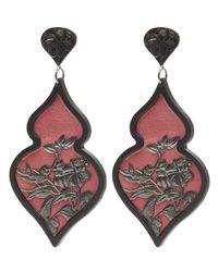 Anna E Alex - Pink Black Palladium-plated Giardino Ornate Bird Floral Velvet Earrings - Lyst