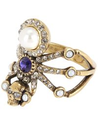 Alexander McQueen - Metallic Gold-tone Jewelled Spider Ring - Lyst
