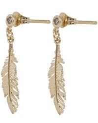 Alex Monroe - Metallic Gold Plume And Champagne Diamond Drop Earrings - Lyst