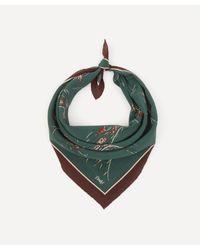 Drake's Green Horse Racing Print Silk Bandana for men