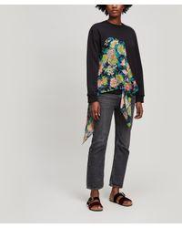 MSGM Black Floral-drape Sweatshirt