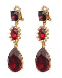 Oscar de la Renta Multicolor Gold-tone Crystal Triple Drop Clip-on Earrings